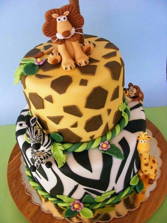Wild animals cake kids birthday cakes pinterest