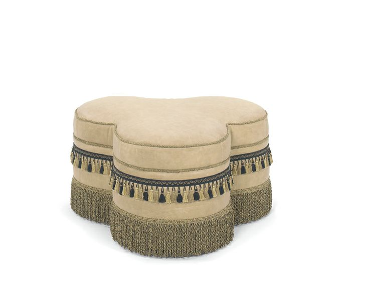 Unique Leather Ottoman with Fringe