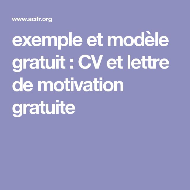 modele cv et motivation