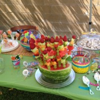 Fruit bouquet luau baby shower | Nobody puts baby's in the ...