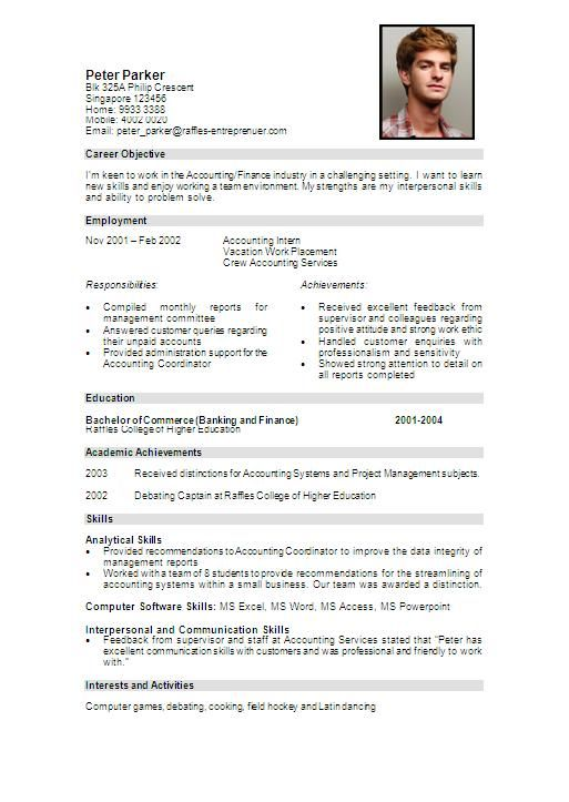 how to write resume for students singapore