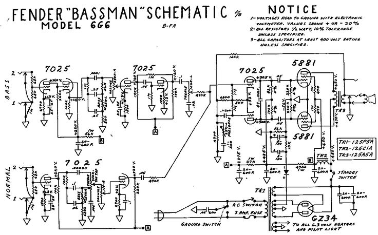 bass guitar tube amp schematic