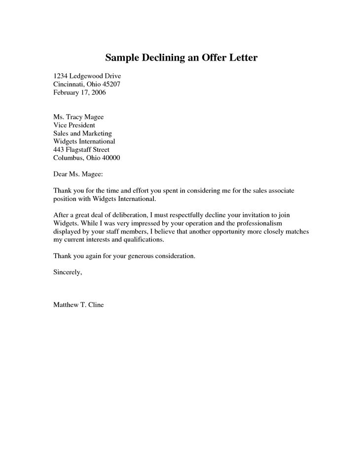 Sample Declining An Offer Letter Pdf Cover Latter