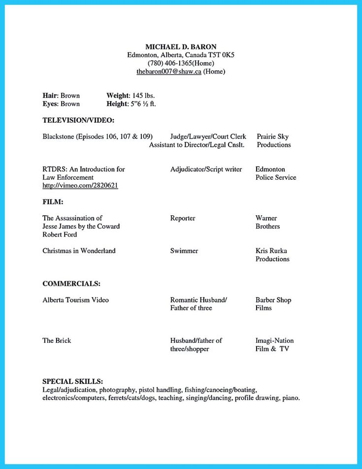 17 Best Ideas About Acting Resume Template On Pinterest | Acting