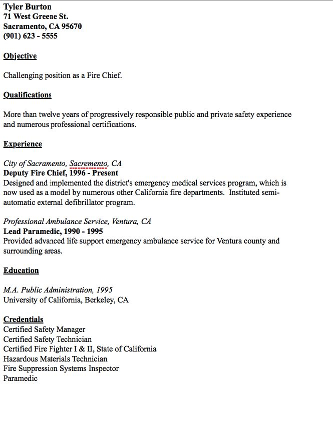 fire chief resume template