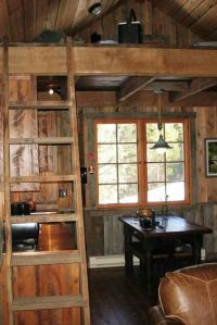 Small cabin interior. Kitchen and dining room.   Small ...