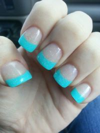 Aqua French tipped nails with some sparkles. Cute.   teal ...