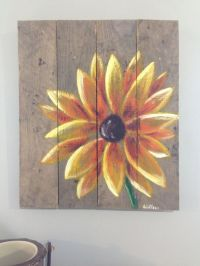 Yellow Flower painted with acrylic on reclaimed pallet ...