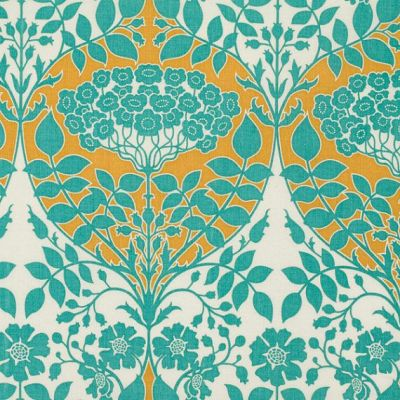 LEAFY DAMASK in Teal and Mustard (pwJD088) - Botanique - Joel Dewberry - Free Spirit Fabric - By ...