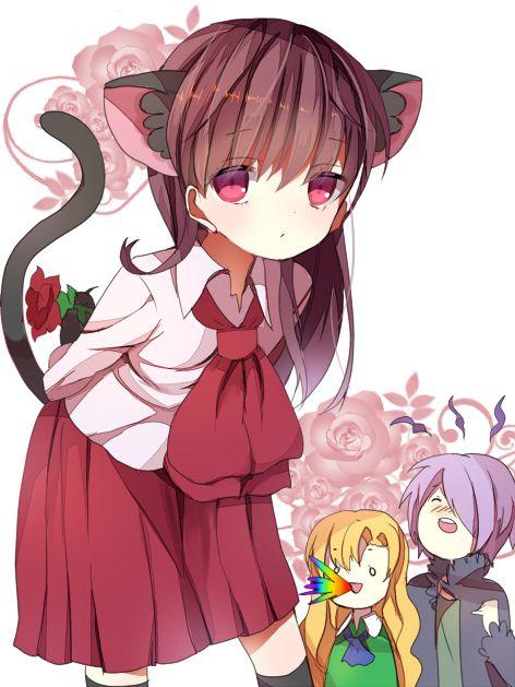 Anime Girl Cat Ears And Roses Wallpaper Ib Fanart Neko Ib Chicas Anime Pinterest Fanart