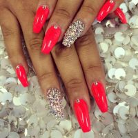 Red squared stiletto   ~ Nails ~   Pinterest   Coffin ...