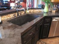 Kitchen concrete countertops Charcoal stain Epoxy finish ...