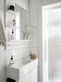 Narrow sink for a small fresh white bathroom in a swedish ...