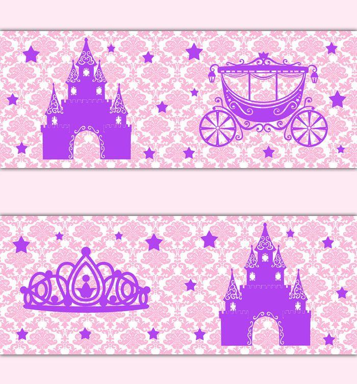 Baby Girl Nursery Wallpaper Borders Pink Purple Princess Damask Wallpaper Border Wall Decal