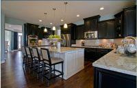 Espresso Cabinets, White Island | Kitchen decor ...