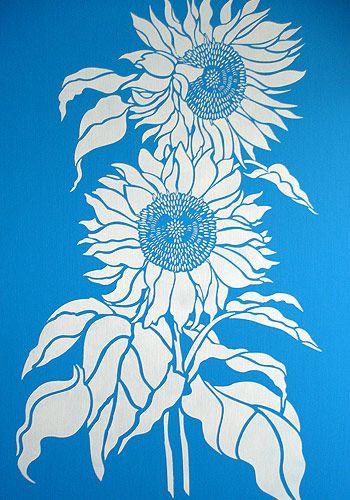P O P Fall Ceiling Wallpaper Sunflower Stencils Large Sunflower Design Flowers