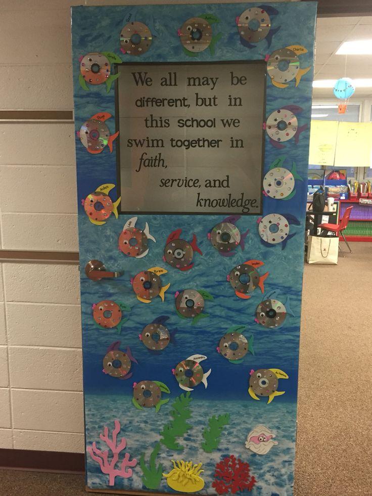 "Catholic schools week door decoration! ""We all may be"
