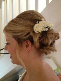 Wedding hair with spray roses and gypsophila | Wedding ...