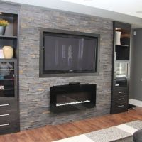 Basement Family Room Design Ideas, gas fireplace with wall