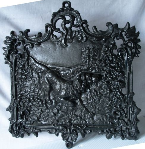 Antique Cast Iron Dog Hunting Scene Fire Place Fireplace