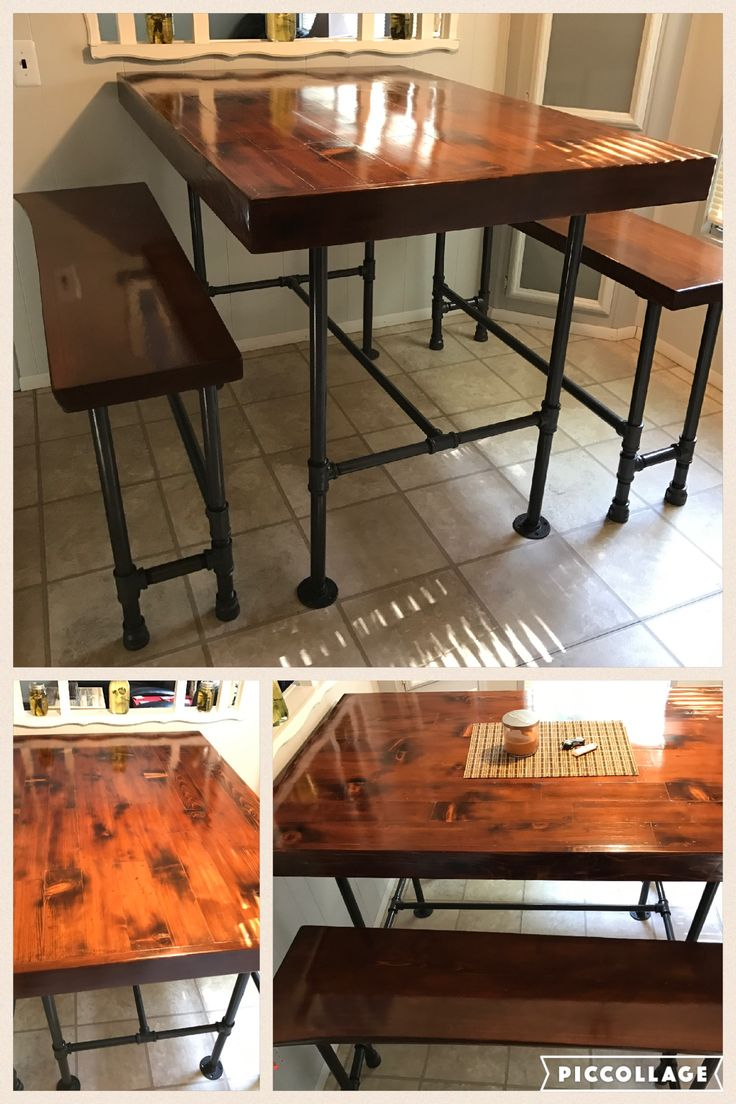 high top tables high top kitchen tables Pipe leg kitchen table benches high top Cedar wood that we torched to
