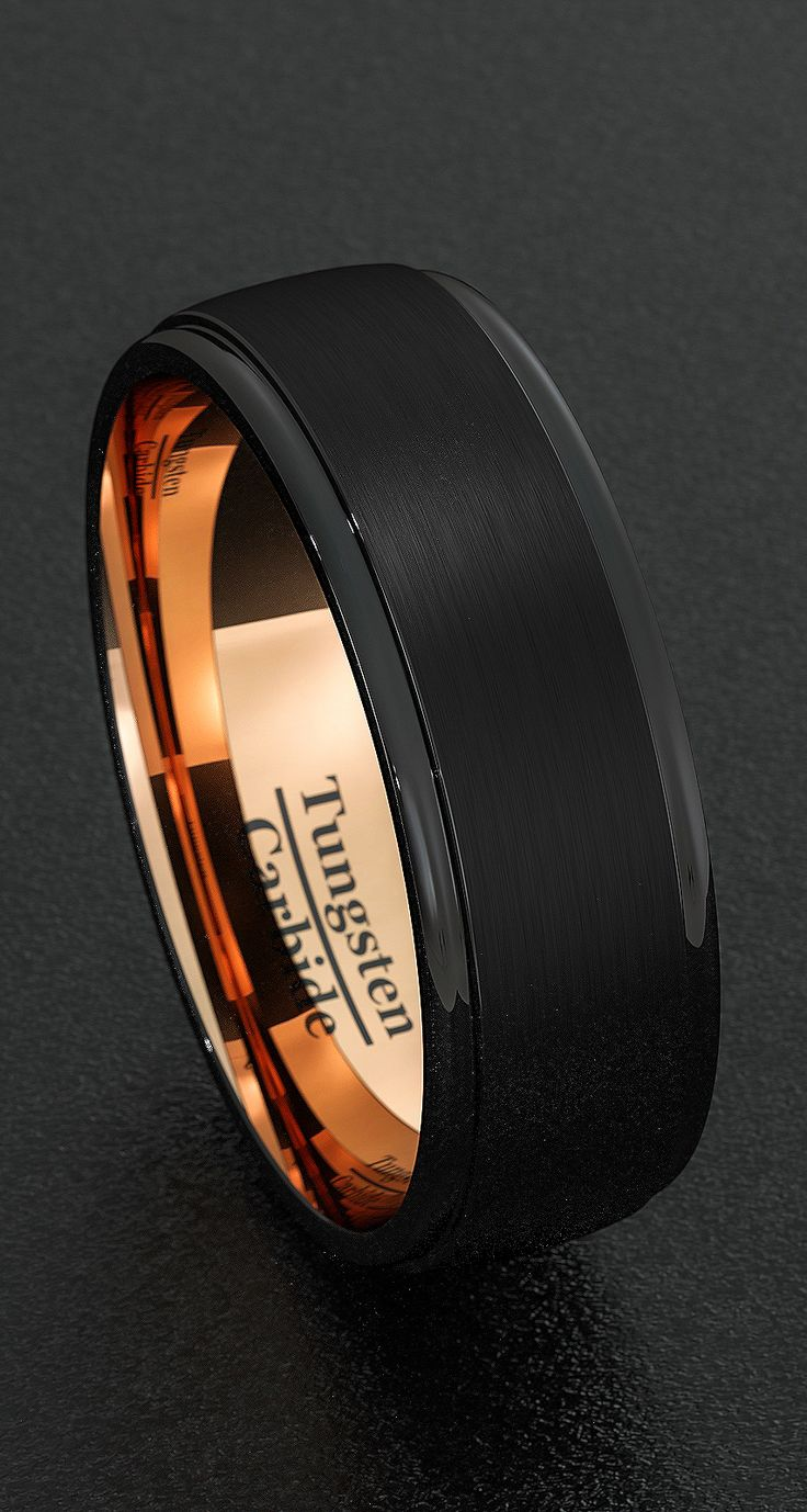 men wedding rings men wedding ring Mens Wedding Bands 8mm Tungsten Rings Black Brushed Step Edge Rose Gold Inner Comfort Fit