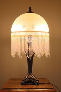 Unique Frosted Glass Lamp with Beaded Fringe - Vintage ...