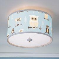 Owls Drum Shade Ceiling Light