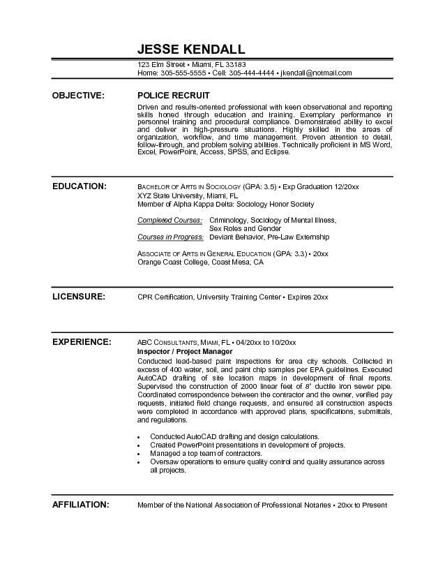 sample police resume resume cv cover letter ethics officer sample - good resume objectives examples