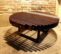 Circular dock coffee table. Maple, gas pipes, white ...