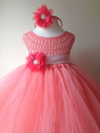 Coral Peach Flower girl dress, coral tutu dress ...