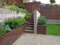 Concrete and corten retaining wall // Wyatt Studio for
