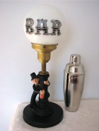 Vintage Bar Table Lamp - Drunk Man on Lamp Post with Round ...