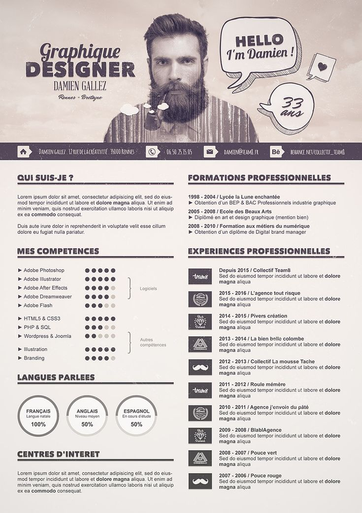 creer un cv graphique design avec photoshop
