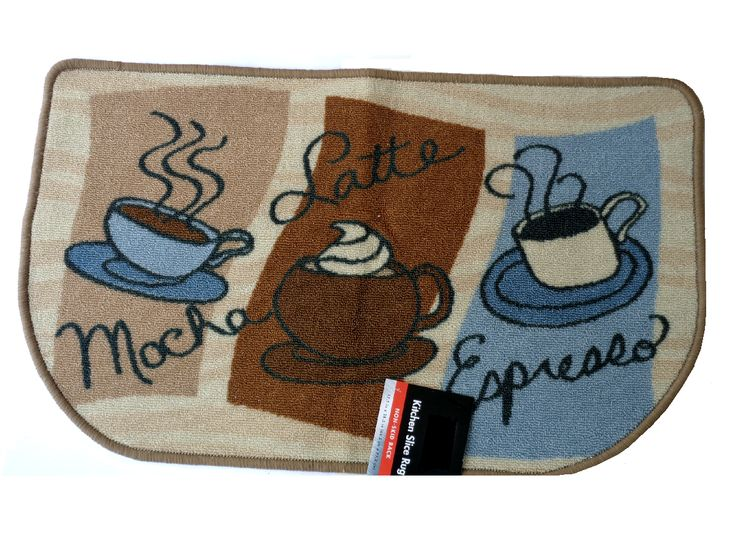 Mocha Latte Espresso Kitchen Rug Coffee Cups Mat 1995