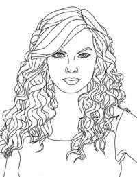 Taylor Swift, : Taylor Swift Curly Hair Coloring Page ...