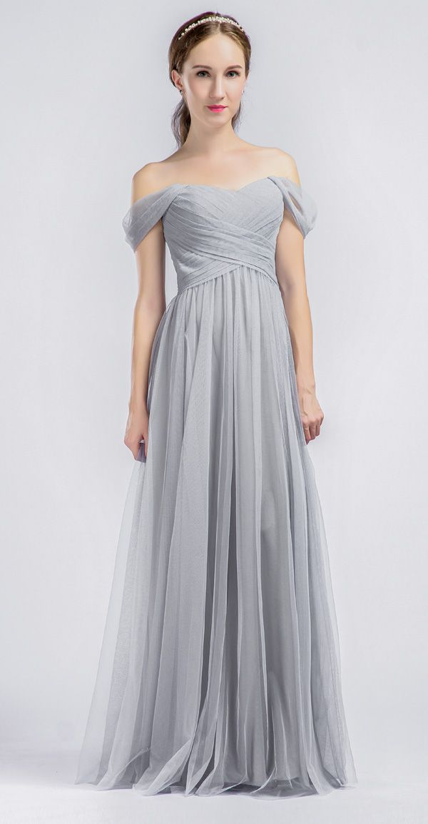 Long Grey Bridesmaids Dresses