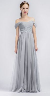 Long Grey Bridesmaids Dresses