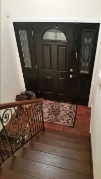 Split level foyer with black door | My DIY www.kim-dempsey ...