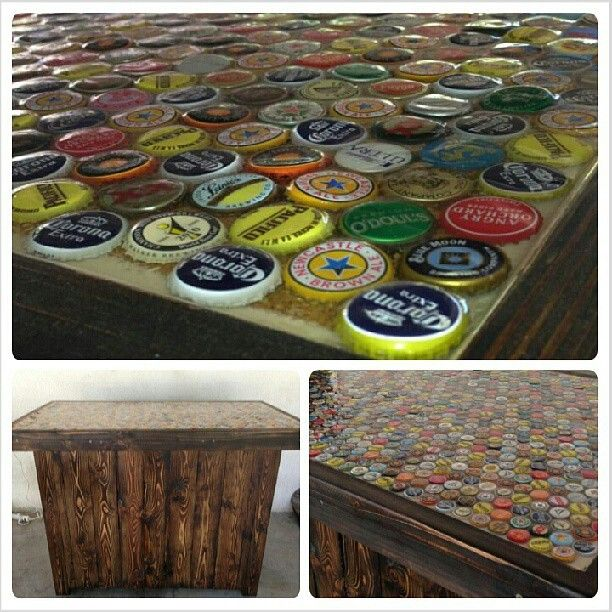 Different Ideas Diy Kitchen Island Home Made Bar With Bottle Cap Bar Top! | Craft Ideas