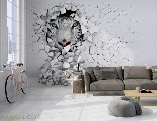 Animal Removable Wallpaper Fototapeta 3d Tygrys W ścianie Zam 243 W Gt Gt Diy Pinterest