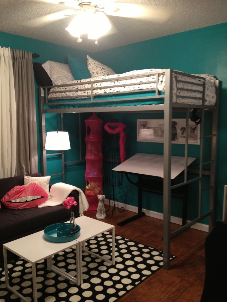 Ikea White Metal Bed Frame Teen Room, Tween Room, Bedroom Idea, Loft Bed, Black And