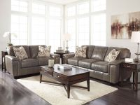 Herman - modern real taupe leather sofa couch loveseat set ...