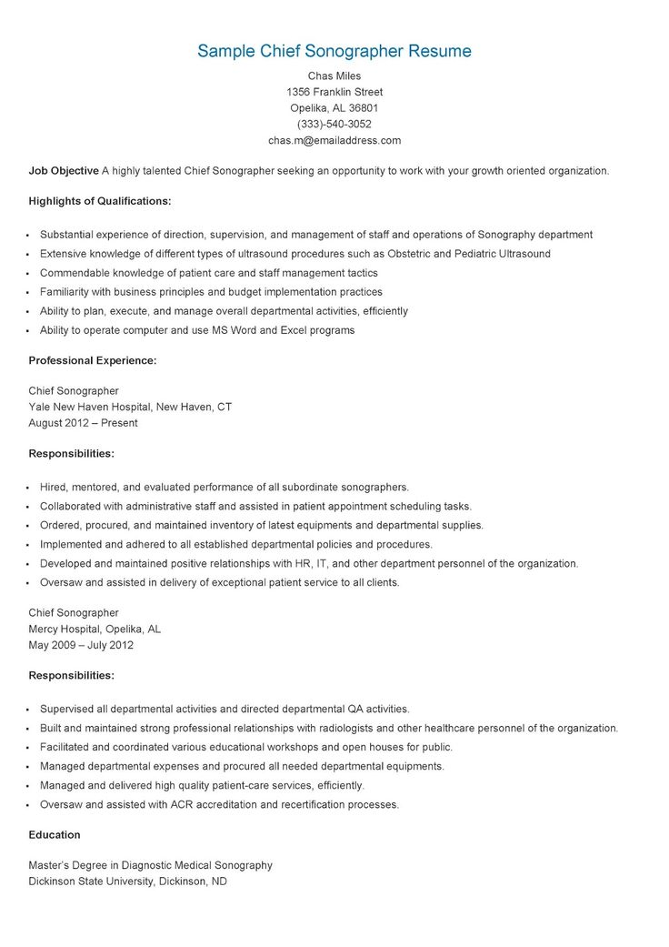 sonographer resume sample professional ultrasound technician