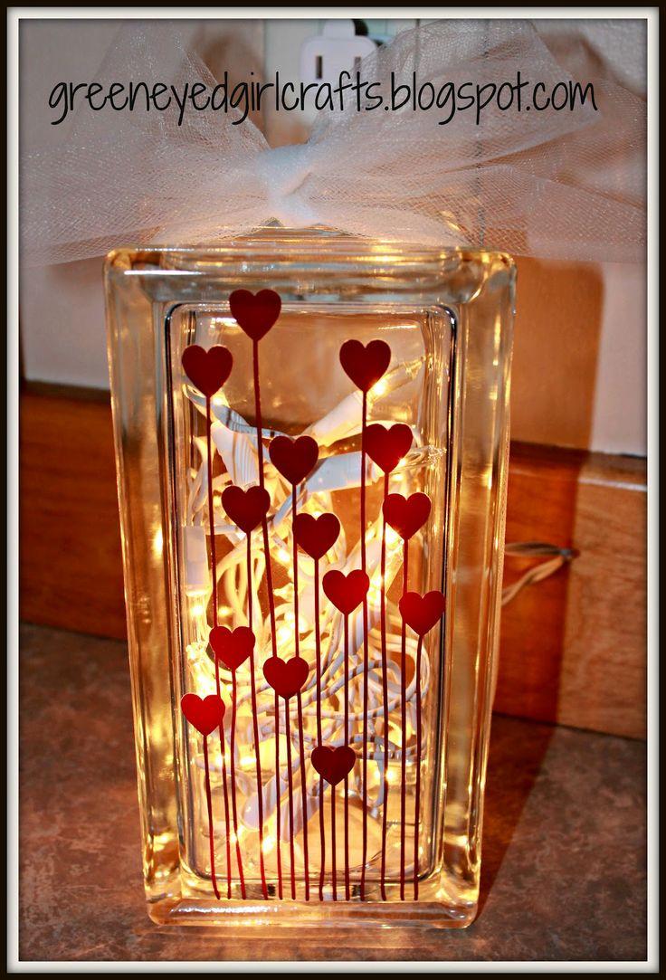 Decorative glass blocks crafts - Glass Blocks For Crafts Pre Drilled Crafts Pre Drilled Heart Glass Block Valentines Glass Blocks