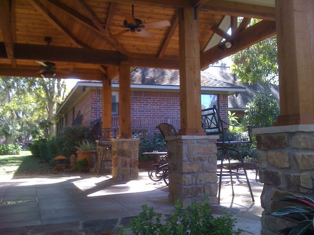 Wpc Pool Cedar Columns With Stone Base And Cedar Ceiling Finishes