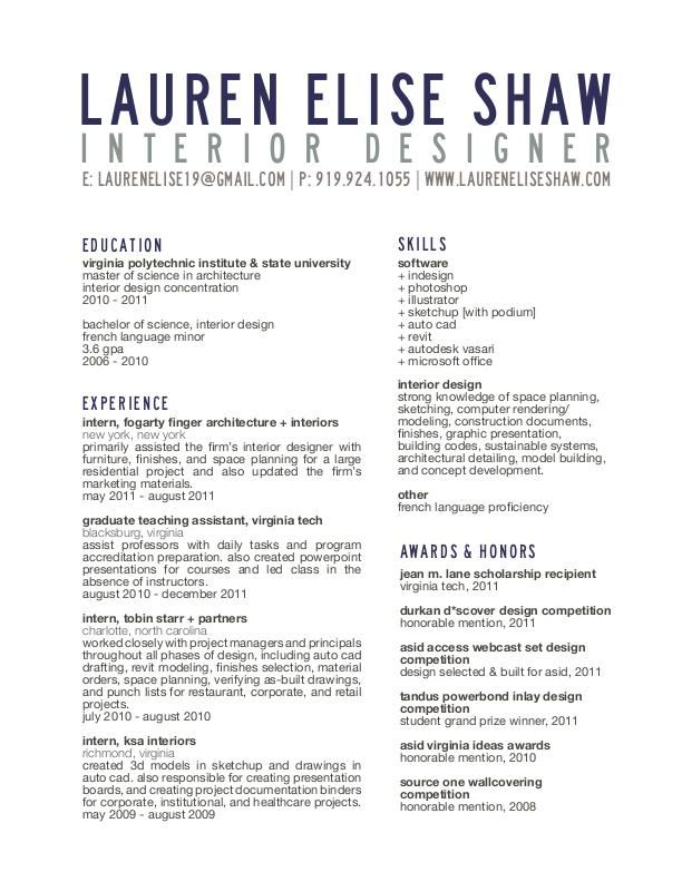 interior design sample resume student