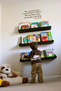 kids bookshelf...love the quote above the bookshelf