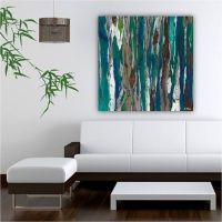 very LARGE blue teal canvas print Wall art abstract ...