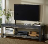 love the rustic look of this table under mounted tv | DIY ...